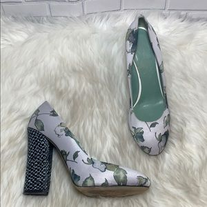 Anthro Paolo D'Arcano Floral Fabric Heels Sz 40/9